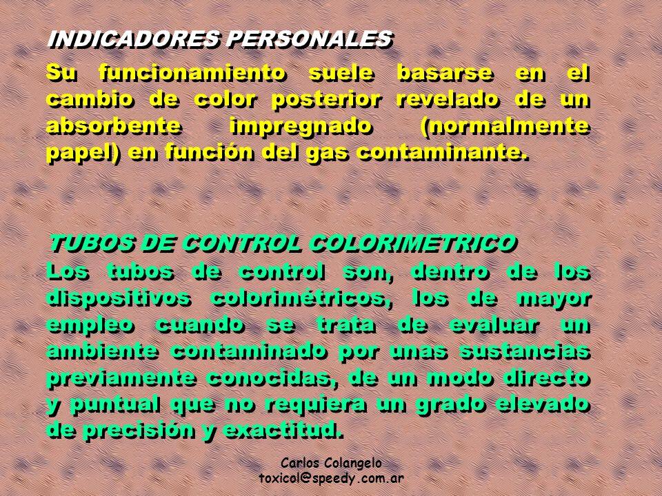 Carlos Colangelo toxicol@speedy.com.ar INDICADORES PERSONALES Su funcionamiento suele basarse en el cambio de color posterior revelado de un absorbent
