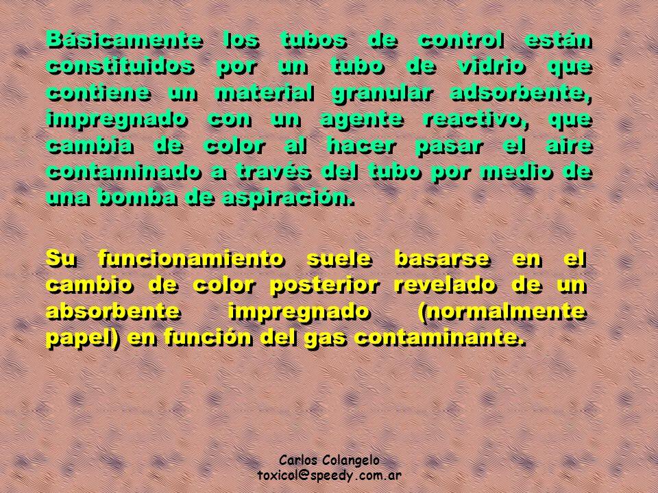 Carlos Colangelo toxicol@speedy.com.ar Básicamente los tubos de control están constituidos por un tubo de vidrio que contiene un material granular ads