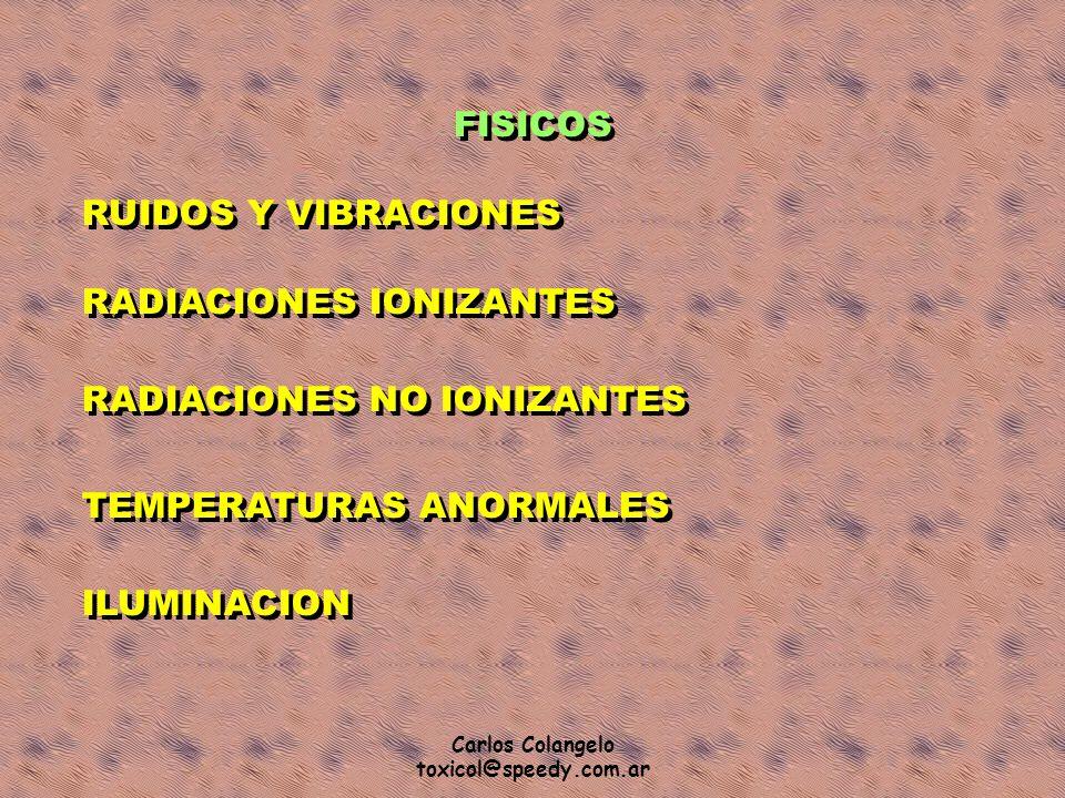Carlos Colangelo toxicol@speedy.com.ar FISICOS RUIDOS Y VIBRACIONES RADIACIONES IONIZANTES RADIACIONES NO IONIZANTES TEMPERATURAS ANORMALES ILUMINACIO