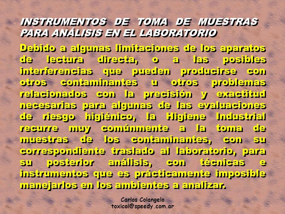 Carlos Colangelo toxicol@speedy.com.ar INSTRUMENTOS DE TOMA DE MUESTRAS PARA ANÁLISIS EN EL LABORATORIO Debido a algunas limitaciones de los aparatos