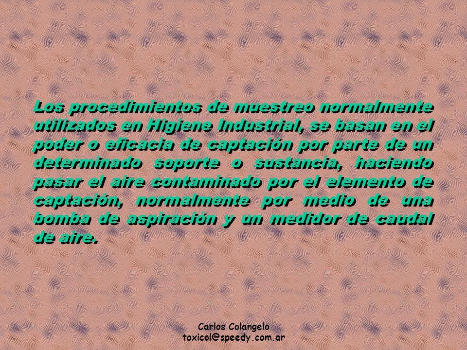 Carlos Colangelo toxicol@speedy.com.ar Los procedimientos de muestreo normalmente utilizados en Higiene Industrial, se basan en el poder o eficacia de