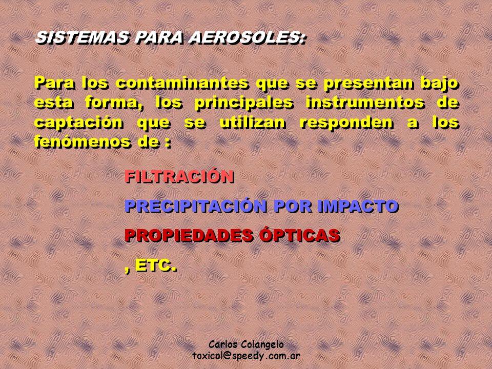 Carlos Colangelo toxicol@speedy.com.ar SISTEMAS PARA AEROSOLES: Para los contaminantes que se presentan bajo esta forma, los principales instrumentos