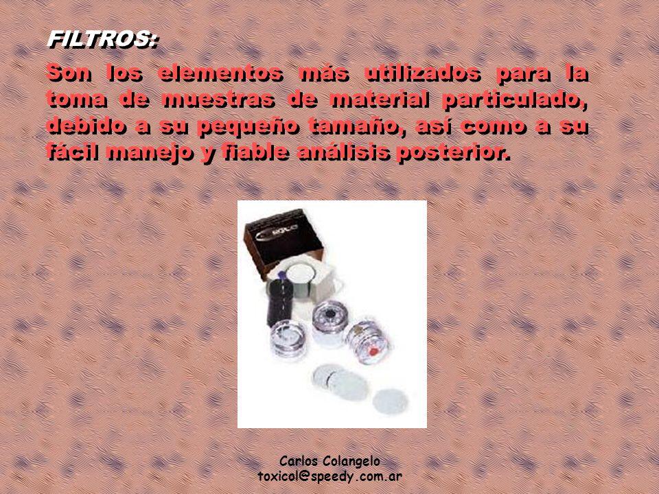 Carlos Colangelo toxicol@speedy.com.ar FILTROS: Son los elementos más utilizados para la toma de muestras de material particulado, debido a su pequeño
