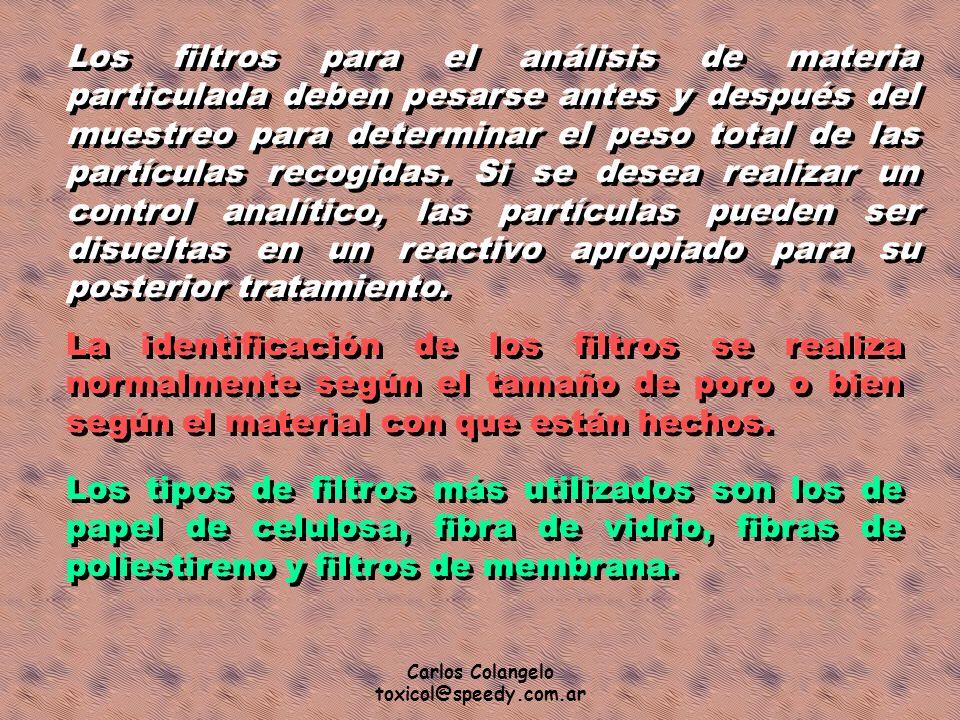 Carlos Colangelo toxicol@speedy.com.ar Los filtros para el análisis de materia particulada deben pesarse antes y después del muestreo para determinar