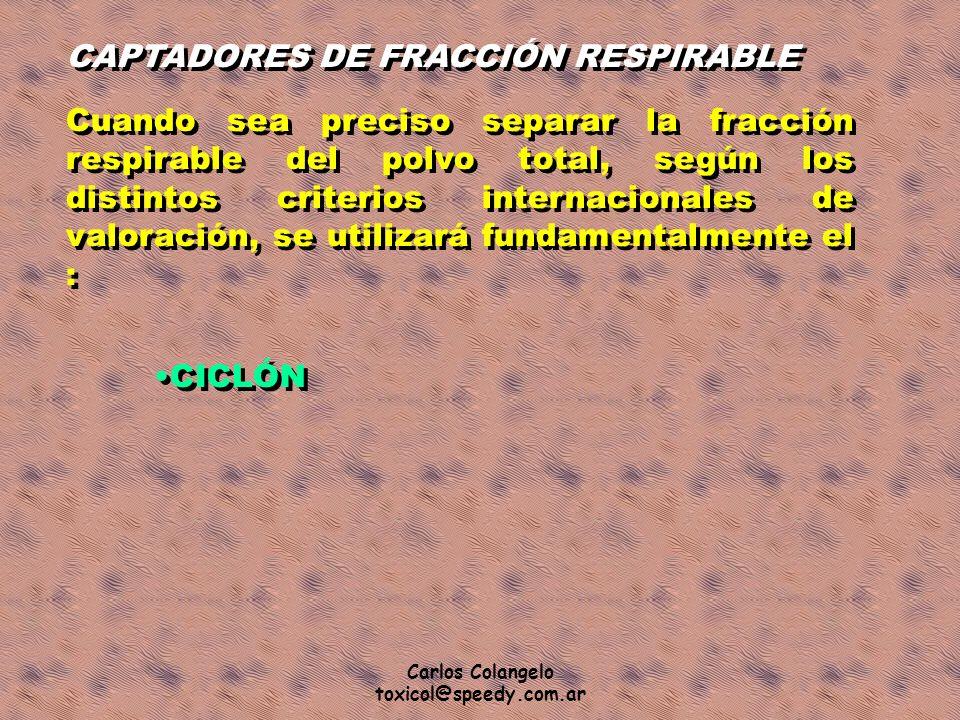 Carlos Colangelo toxicol@speedy.com.ar CAPTADORES DE FRACCIÓN RESPIRABLE Cuando sea preciso separar la fracción respirable del polvo total, según los