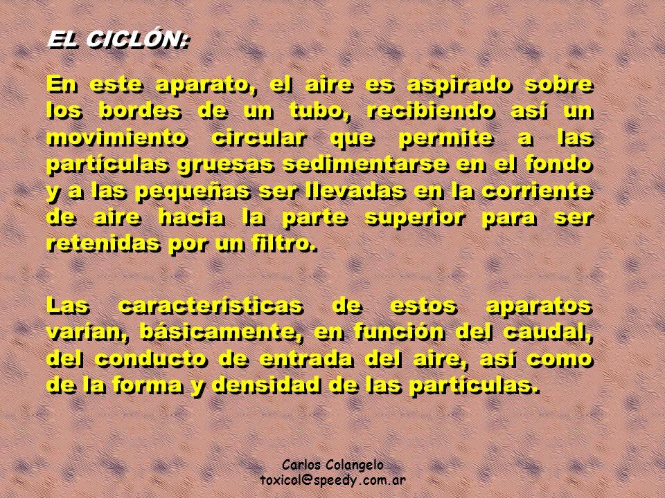 Carlos Colangelo toxicol@speedy.com.ar EL CICLÓN: En este aparato, el aire es aspirado sobre los bordes de un tubo, recibiendo así un movimiento circu