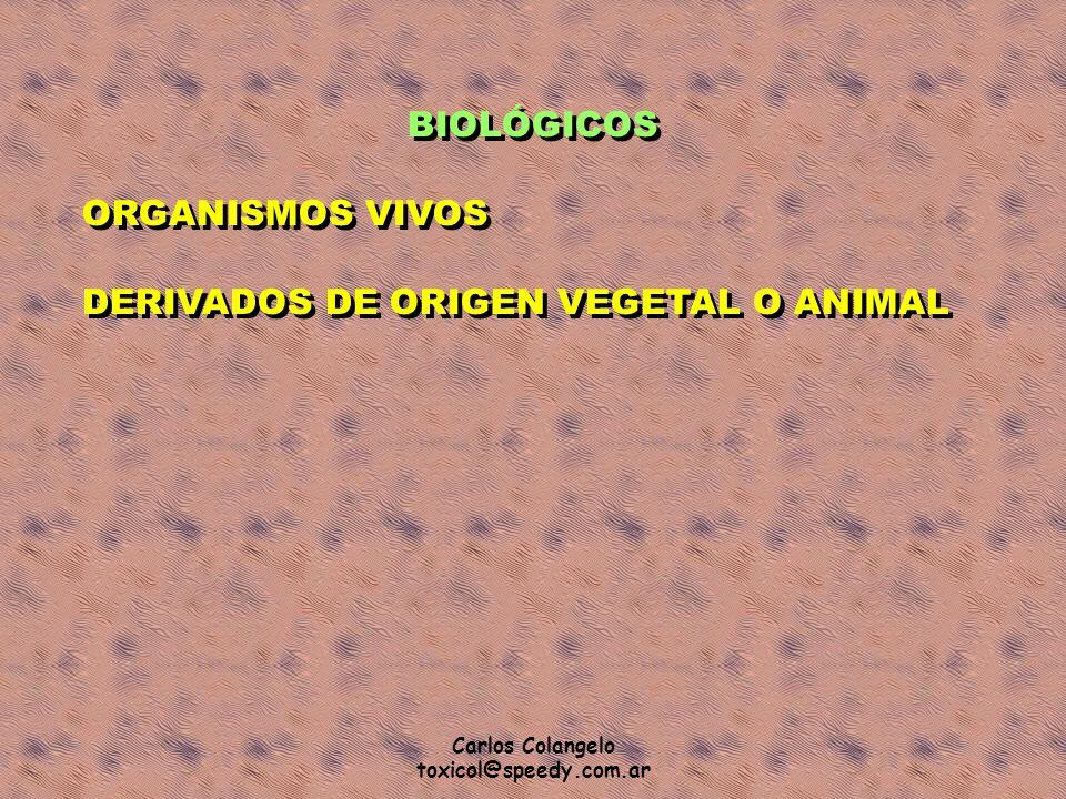 Carlos Colangelo toxicol@speedy.com.ar BIOLÓGICOS ORGANISMOS VIVOS DERIVADOS DE ORIGEN VEGETAL O ANIMAL