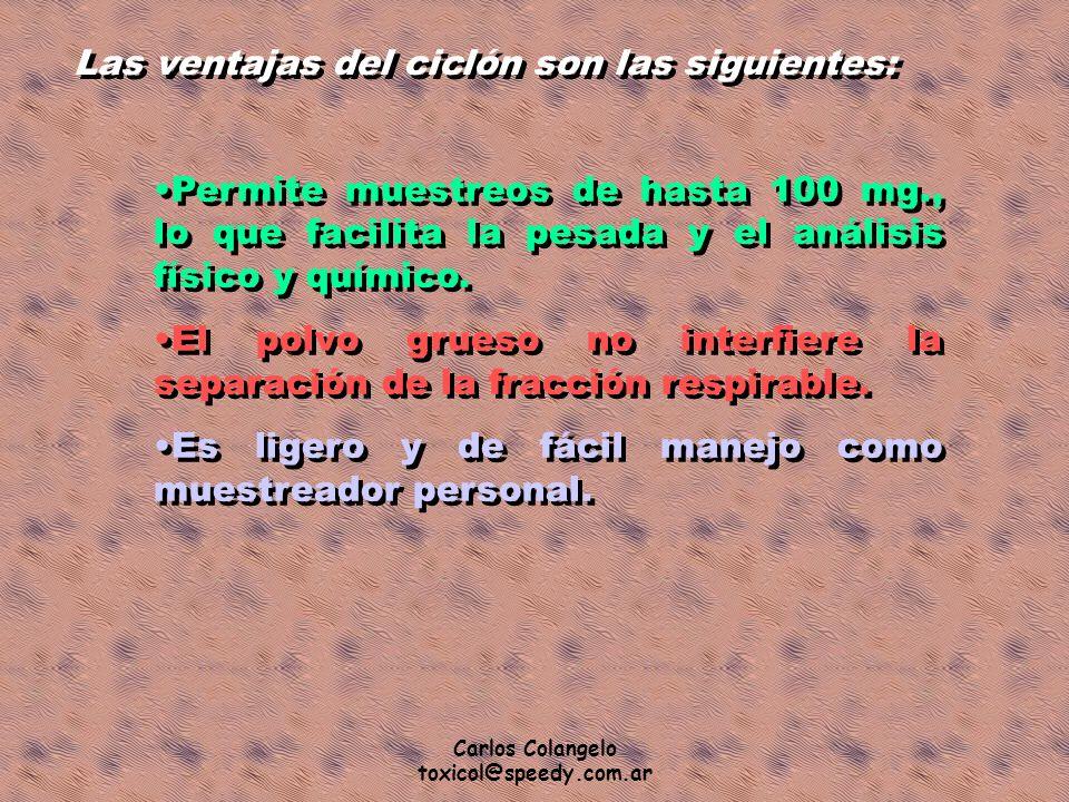 Carlos Colangelo toxicol@speedy.com.ar Las ventajas del ciclón son las siguientes: Permite muestreos de hasta 100 mg., lo que facilita la pesada y el