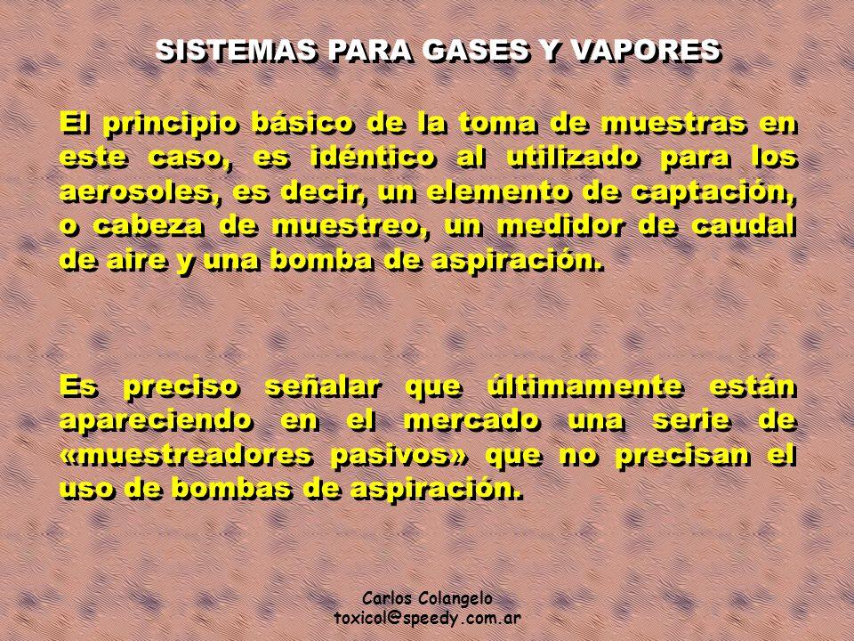 Carlos Colangelo toxicol@speedy.com.ar SISTEMAS PARA GASES Y VAPORES El principio básico de la toma de muestras en este caso, es idéntico al utilizado