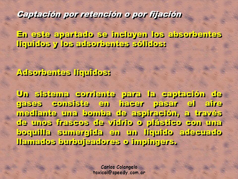 Carlos Colangelo toxicol@speedy.com.ar Captación por retención o por fijación En este apartado se incluyen los absorbentes líquidos y los adsorbentes