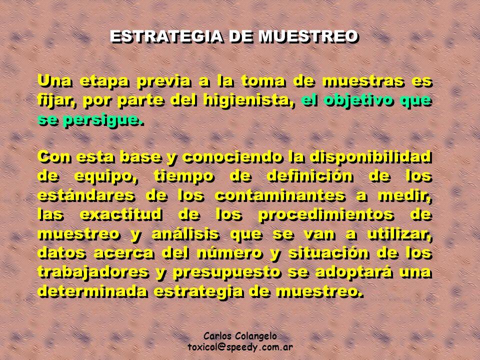Carlos Colangelo toxicol@speedy.com.ar Una etapa previa a la toma de muestras es fijar, por parte del higienista, el objetivo que se persigue. ESTRATE