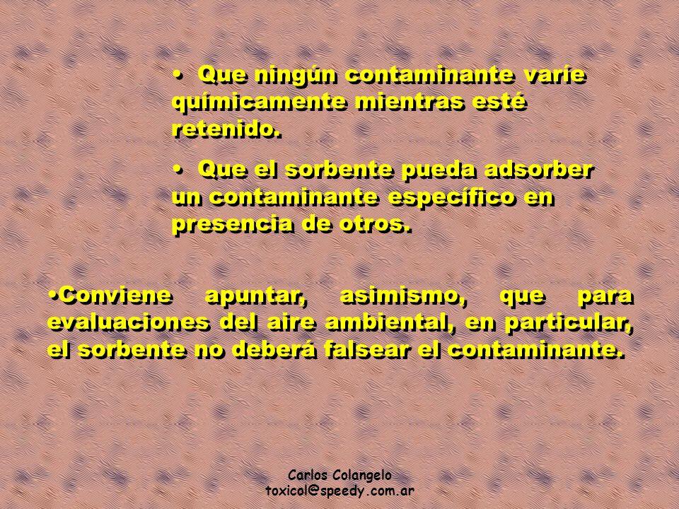 Carlos Colangelo toxicol@speedy.com.ar Que ningún contaminante varíe químicamente mientras esté retenido. Que el sorbente pueda adsorber un contaminan