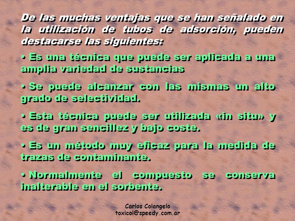 Carlos Colangelo toxicol@speedy.com.ar De las muchas ventajas que se han señalado en la utilización de tubos de adsorción, pueden destacarse las sigui