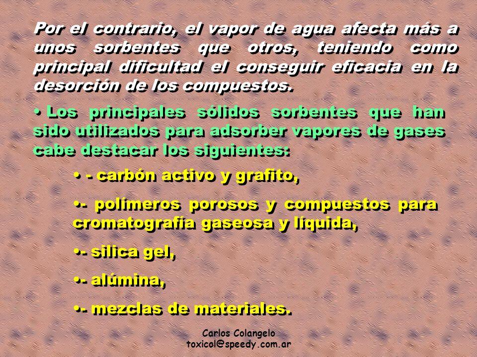 Carlos Colangelo toxicol@speedy.com.ar Por el contrario, el vapor de agua afecta más a unos sorbentes que otros, teniendo como principal dificultad el