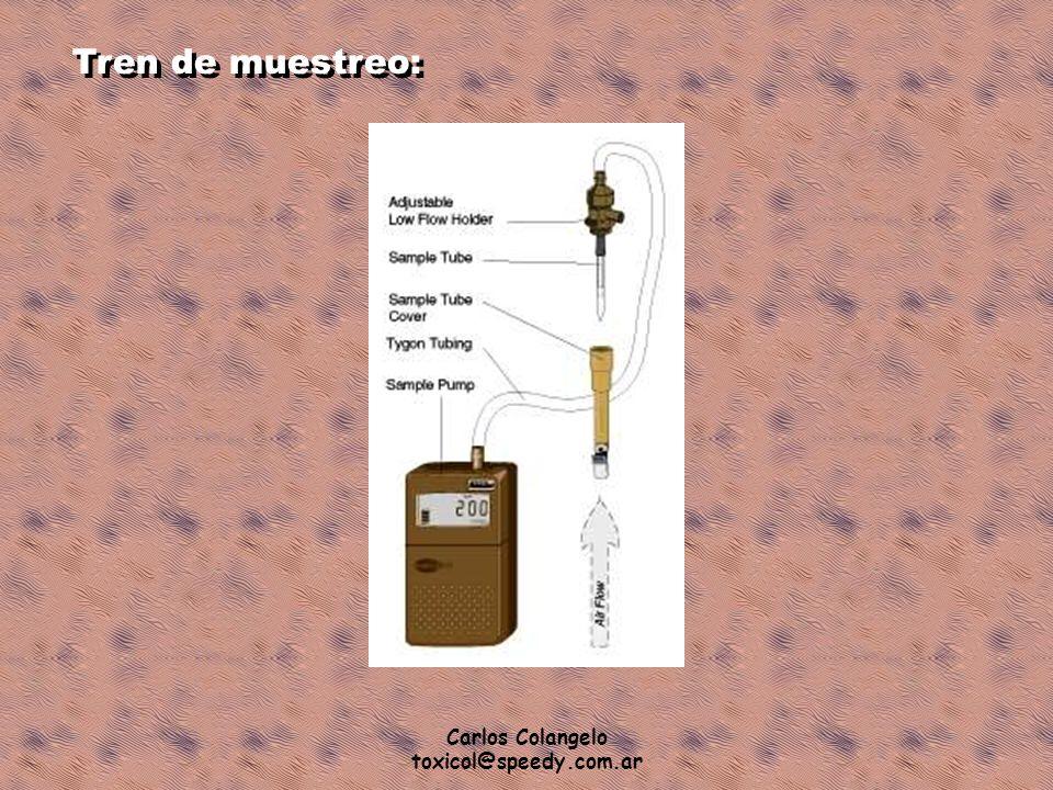 Carlos Colangelo toxicol@speedy.com.ar Tren de muestreo: