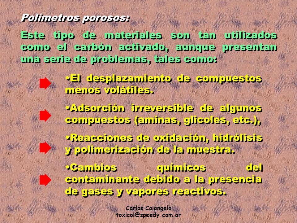 Carlos Colangelo toxicol@speedy.com.ar Polímetros porosos: Este tipo de materiales son tan utilizados como el carbón activado, aunque presentan una se