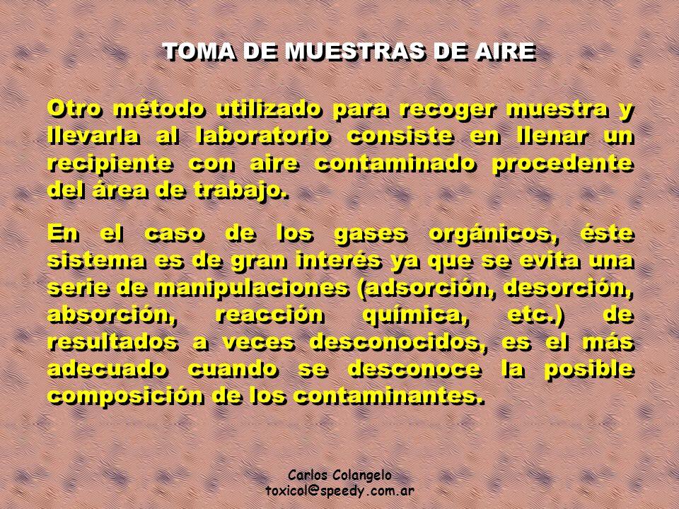 Carlos Colangelo toxicol@speedy.com.ar TOMA DE MUESTRAS DE AIRE Otro método utilizado para recoger muestra y llevarla al laboratorio consiste en llena