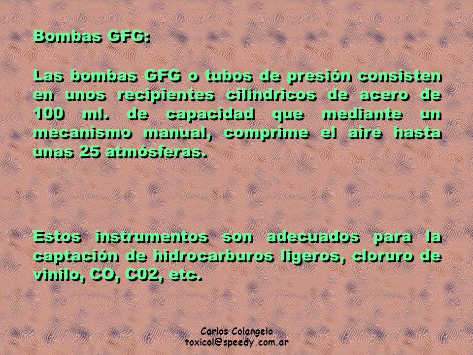 Carlos Colangelo toxicol@speedy.com.ar Bombas GFG: Las bombas GFG o tubos de presión consisten en unos recipientes cilíndricos de acero de 100 ml. de