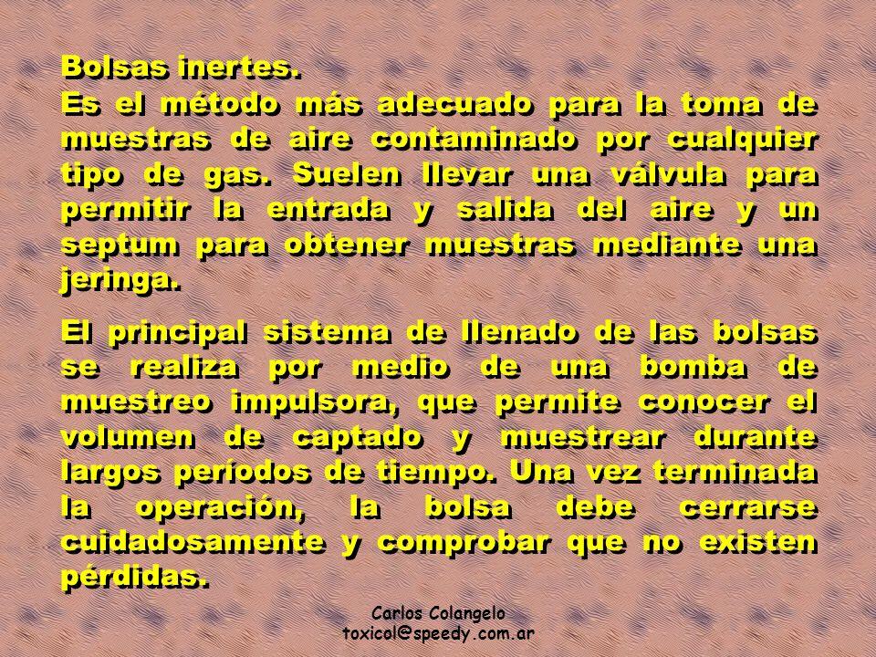 Carlos Colangelo toxicol@speedy.com.ar Bolsas inertes. Es el método más adecuado para la toma de muestras de aire contaminado por cualquier tipo de ga