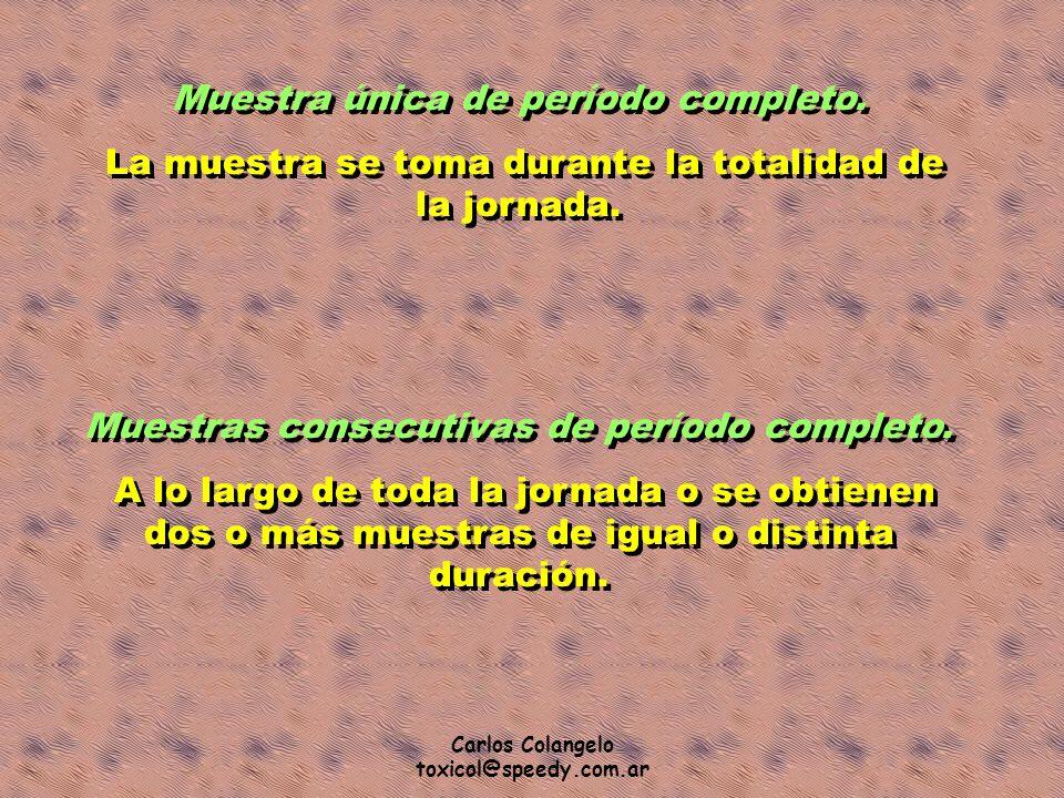 Carlos Colangelo toxicol@speedy.com.ar Muestra única de período completo. La muestra se toma durante la totalidad de la jornada. Muestra única de perí