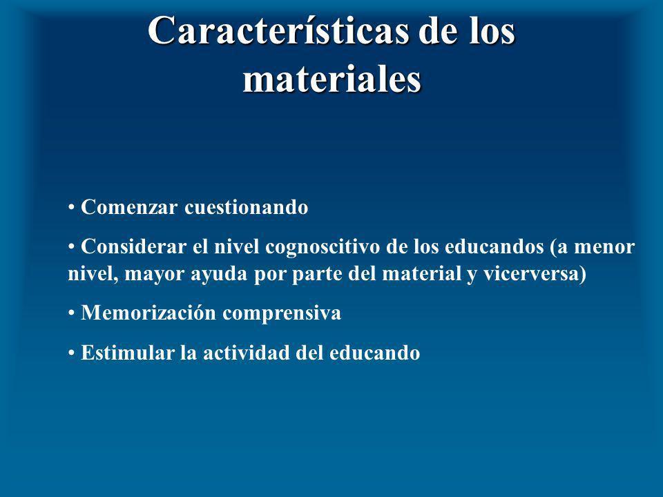 Características de los materiales Comenzar cuestionando Considerar el nivel cognoscitivo de los educandos (a menor nivel, mayor ayuda por parte del ma