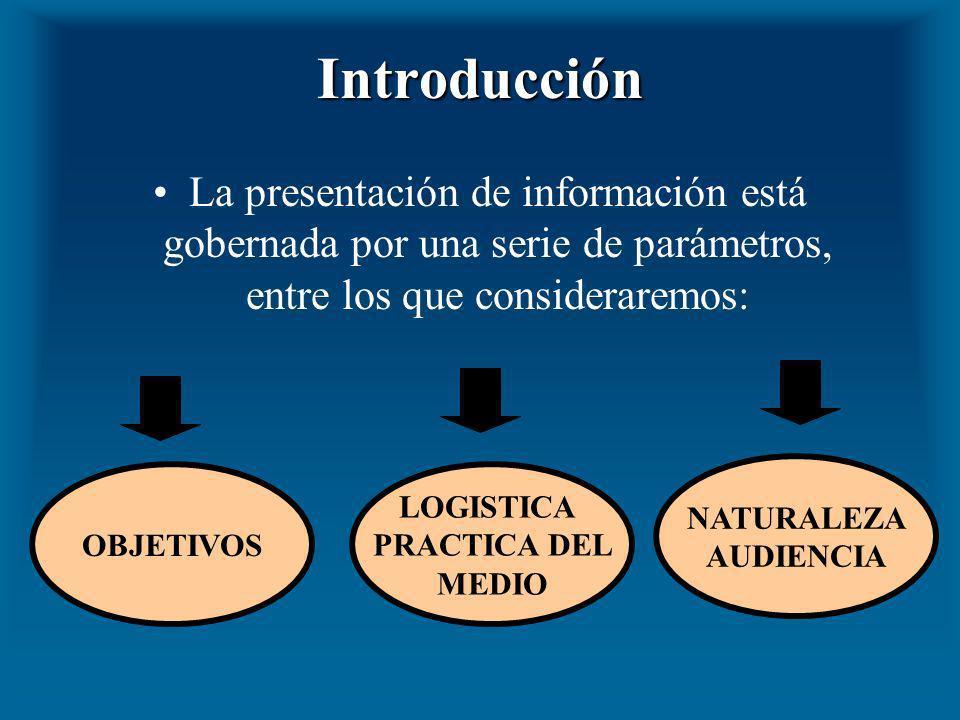 Introducción La presentación de información está gobernada por una serie de parámetros, entre los que consideraremos: OBJETIVOS LOGISTICA PRACTICA DEL