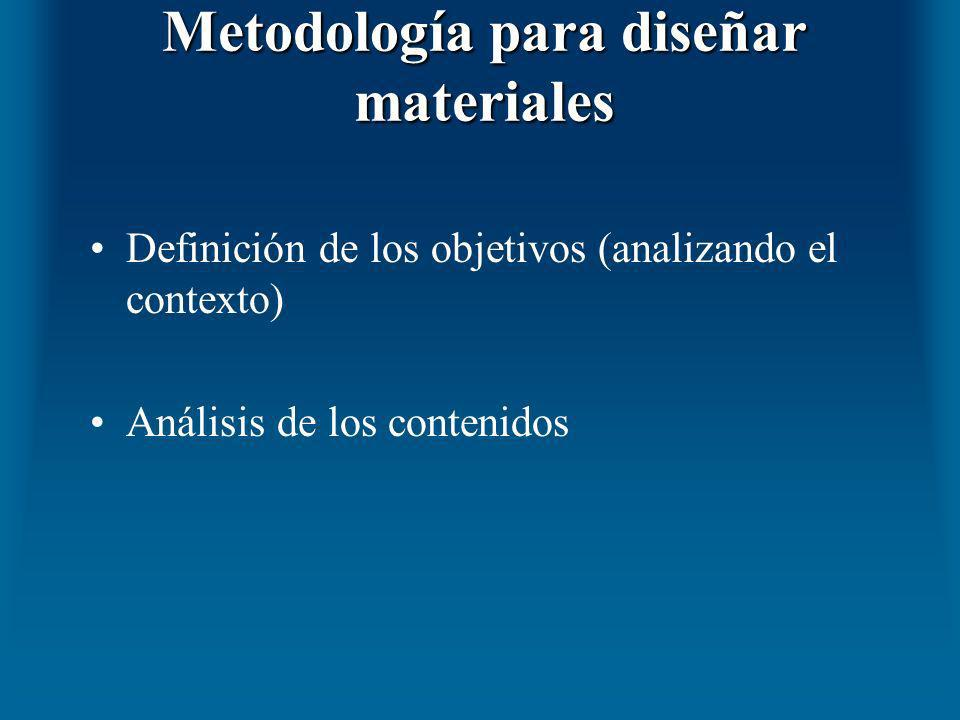 Metodología para diseñar materiales Definición de los objetivos (analizando el contexto) Análisis de los contenidos