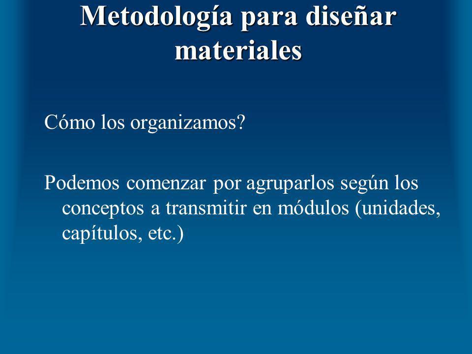 Metodología para diseñar materiales Cómo los organizamos? Podemos comenzar por agruparlos según los conceptos a transmitir en módulos (unidades, capít