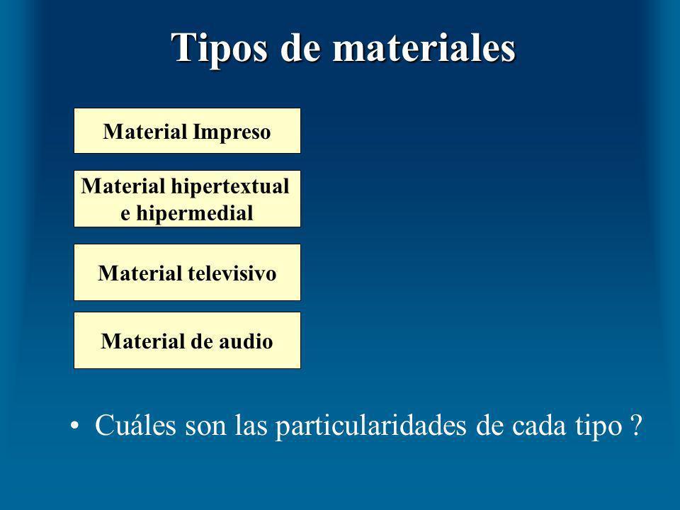 Tipos de materiales Cuáles son las particularidades de cada tipo ? Material Impreso Material hipertextual e hipermedial Material televisivo Material d