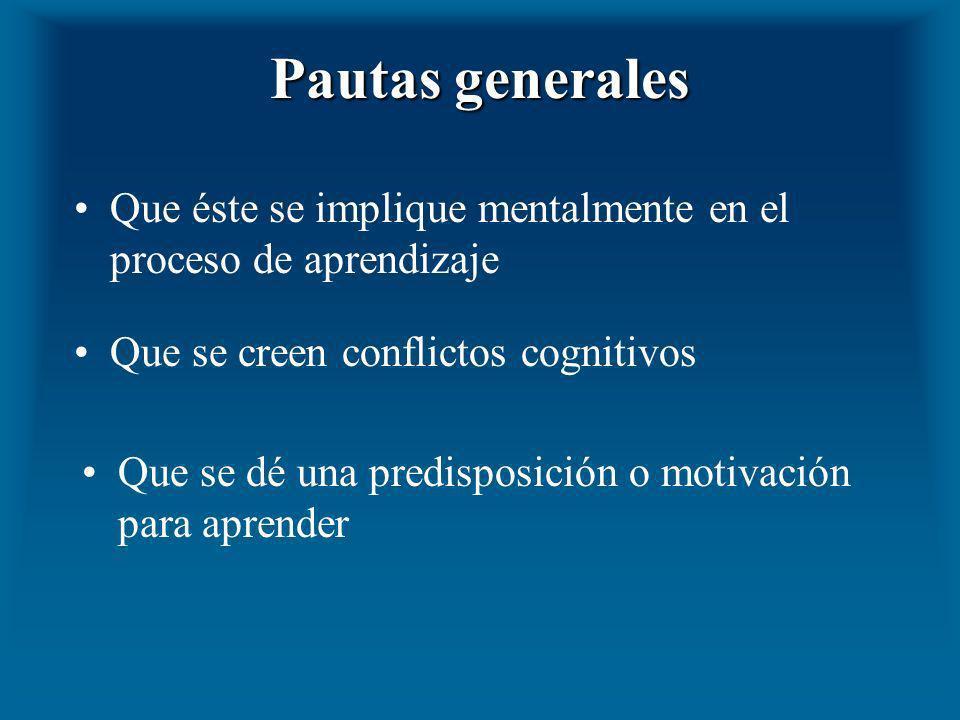 Pautas generales Que se dé una predisposición o motivación para aprender Que éste se implique mentalmente en el proceso de aprendizaje Que se creen co