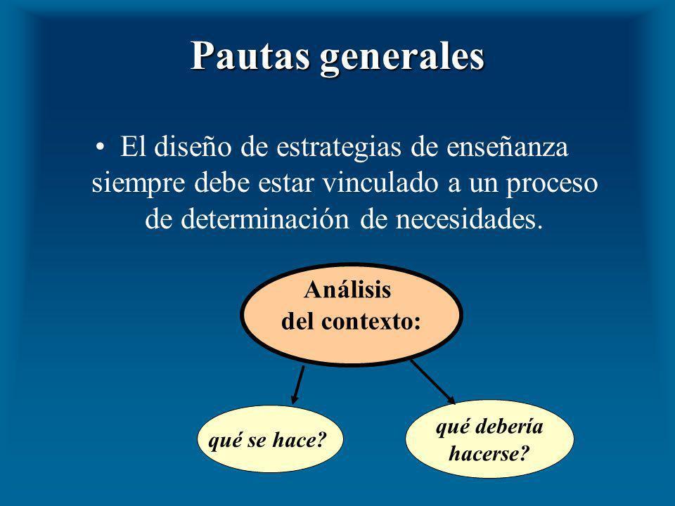 Pautas generales El diseño de estrategias de enseñanza siempre debe estar vinculado a un proceso de determinación de necesidades. Análisis del context
