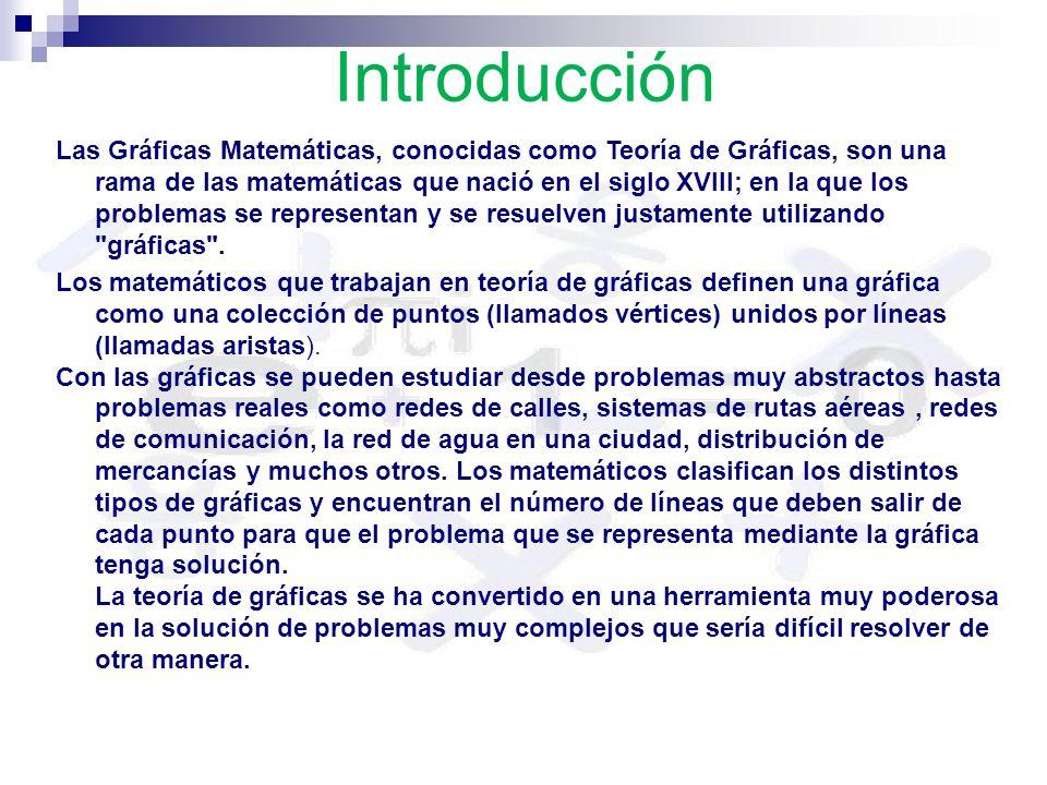 Introducción Las Gráficas Matemáticas, conocidas como Teoría de Gráficas, son una rama de las matemáticas que nació en el siglo XVIII; en la que los problemas se representan y se resuelven justamente utilizando gráficas .