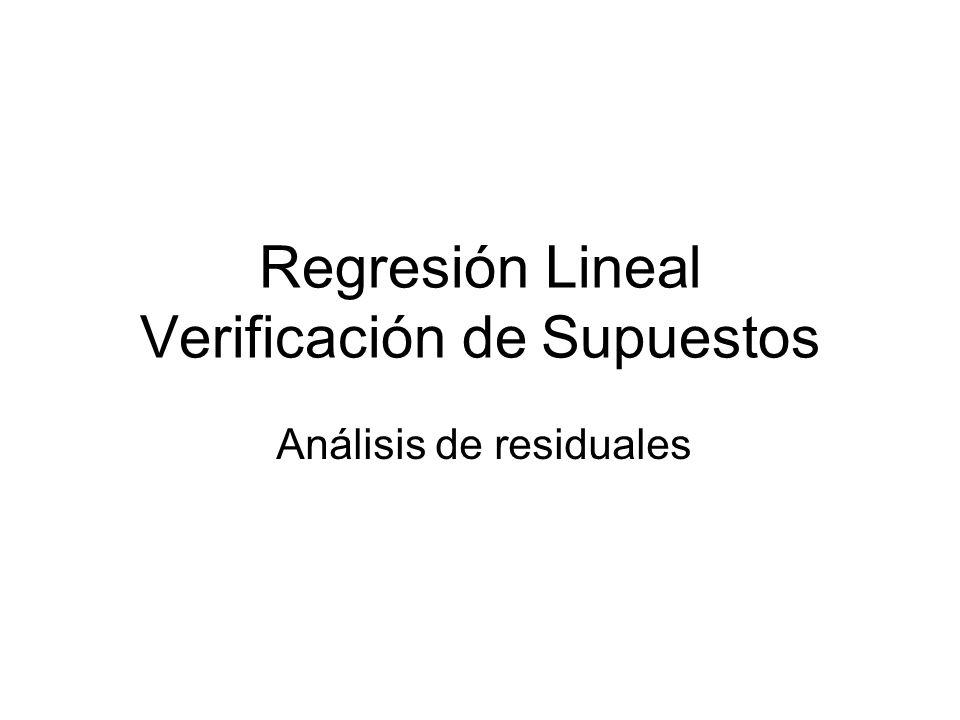 Regresión Lineal Verificación de Supuestos Análisis de residuales