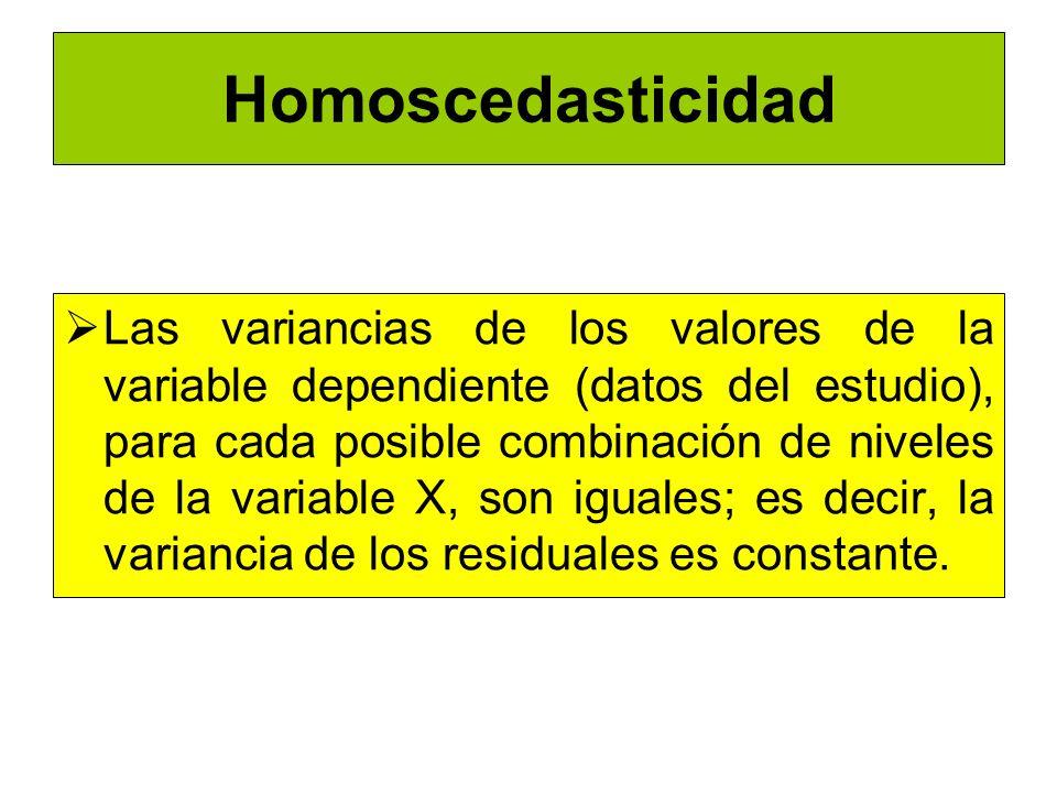 Homoscedasticidad Las variancias de los valores de la variable dependiente (datos del estudio), para cada posible combinación de niveles de la variabl