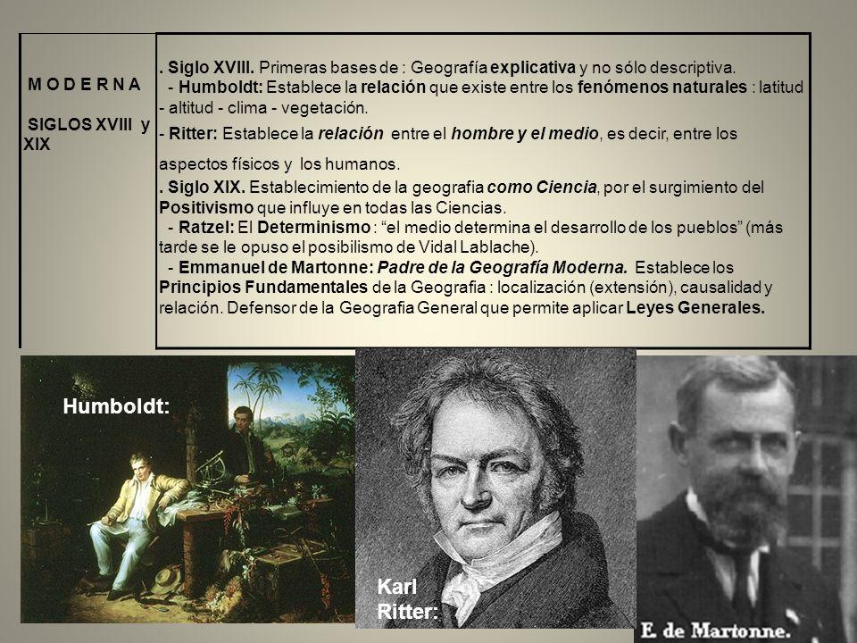 M O D E R N A SIGLOS XVIII y XIX. Siglo XVIII. Primeras bases de : Geografía explicativa y no sólo descriptiva. - Humboldt: Establece la relación que