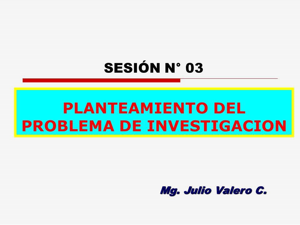 Mg. Julio Valero C. SESIÓN N° 03 PLANTEAMIENTO DEL PROBLEMA DE INVESTIGACION