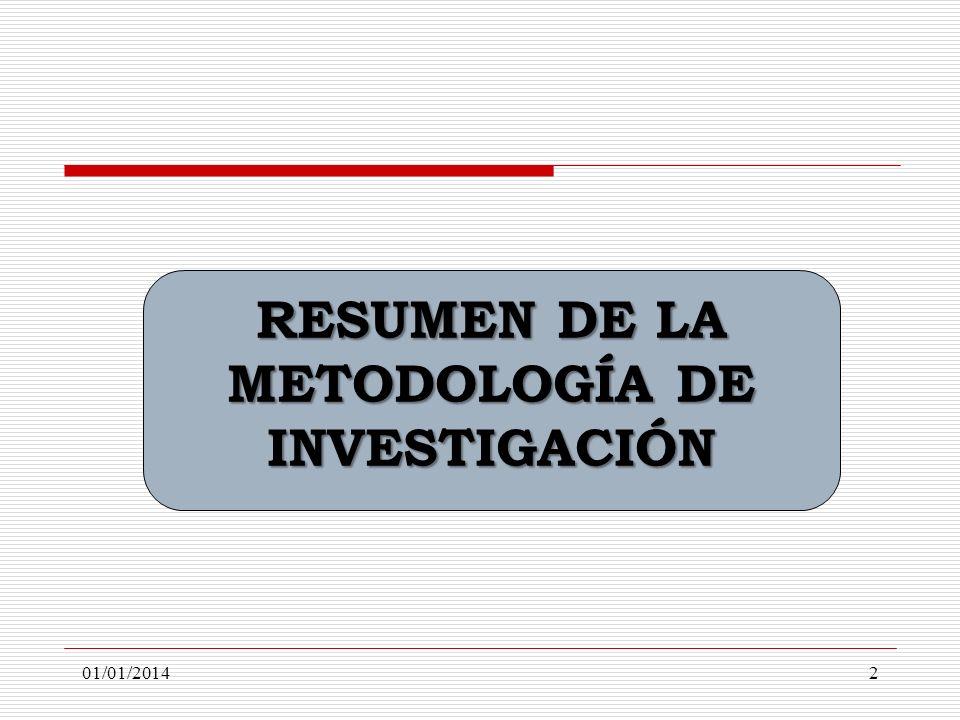 RESUMEN DE LA METODOLOGÍA DE INVESTIGACIÓN 01/01/20142
