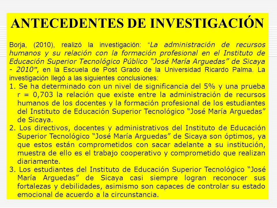 01/01/201442 ANTECEDENTES DE INVESTIGACIÓN Borja, (2010), realizó la investigación: La administración de recursos humanos y su relación con la formaci