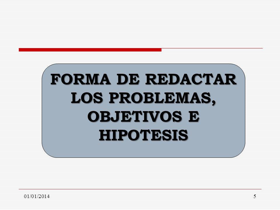 FORMA DE REDACTAR LOS PROBLEMAS, OBJETIVOS E HIPOTESIS 01/01/20145