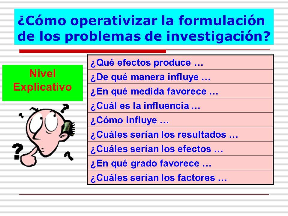 ¿Cómo operativizar la formulación de los problemas de investigación? Nivel Explicativo ¿Qué efectos produce … ¿De qué manera influye … ¿En qué medida
