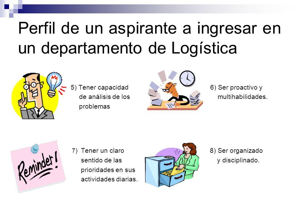 Perfil de un aspirante a ingresar en un departamento de Logística 5) Tener capacidad 6) Ser proactivo y de análisis de los multihabilidades. problemas