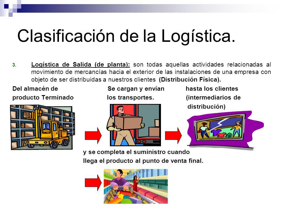 Clasificación de la Logística. 3. Logística de Salida (de planta): son todas aquellas actividades relacionadas al movimiento de mercancías hacia el ex