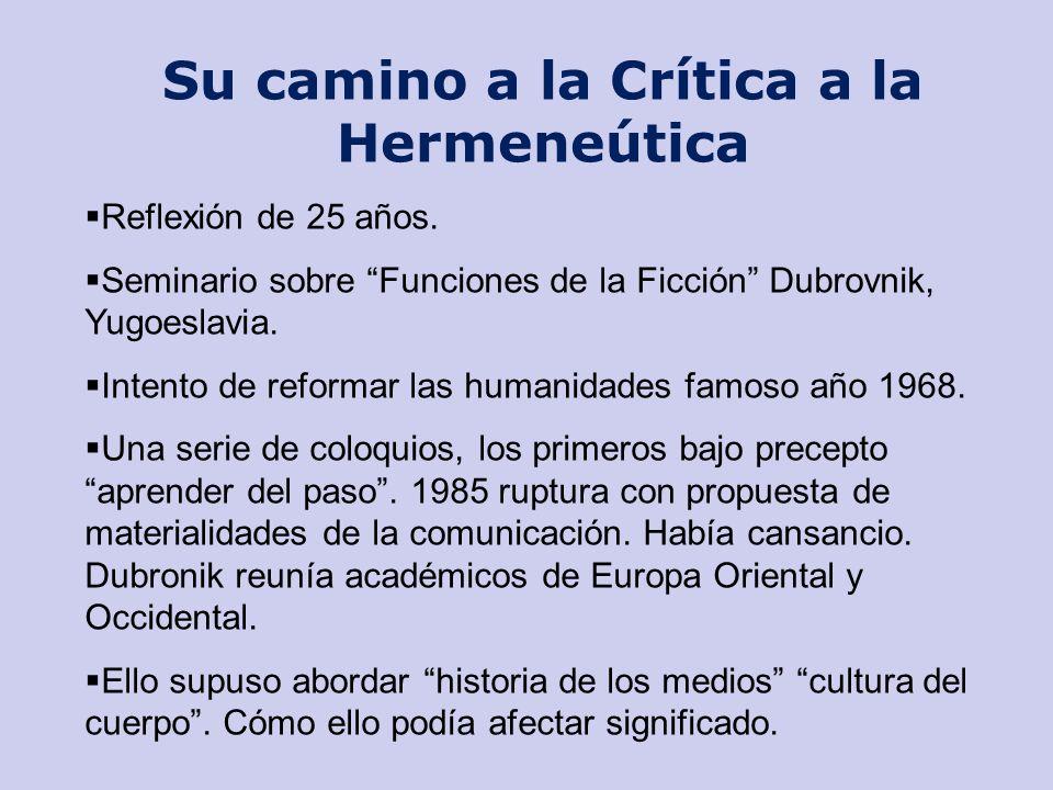Su camino a la Crítica a la Hermeneútica Reflexión de 25 años. Seminario sobre Funciones de la Ficción Dubrovnik, Yugoeslavia. Intento de reformar las