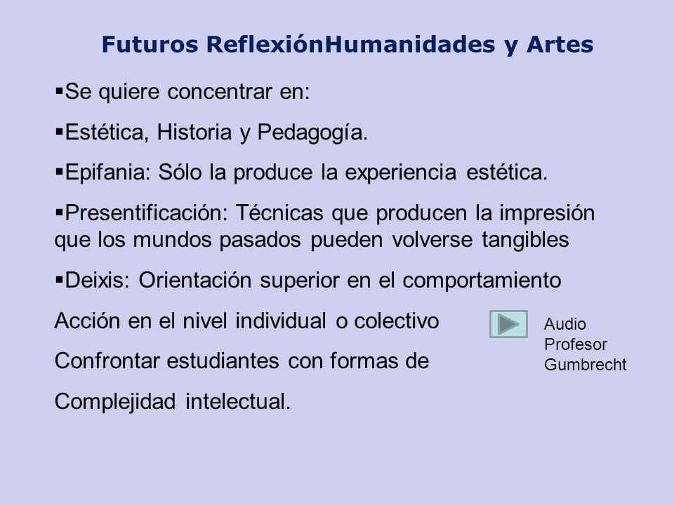 Futuros ReflexiónHumanidades y Artes Se quiere concentrar en: Estética, Historia y Pedagogía. Epifania: Sólo la produce la experiencia estética. Prese