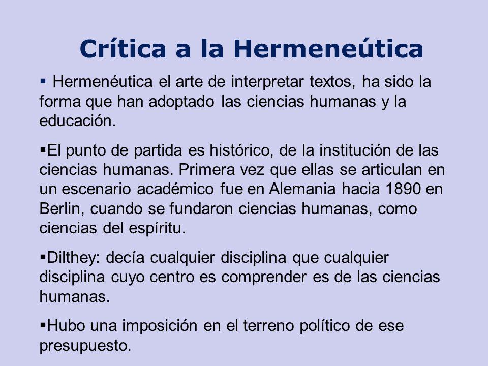 Su camino a la Crítica a la Hermeneútica Cuatro perspectivas desde Heidegger: Ser como noción de verdad Movimiento del ser es multidimensional.