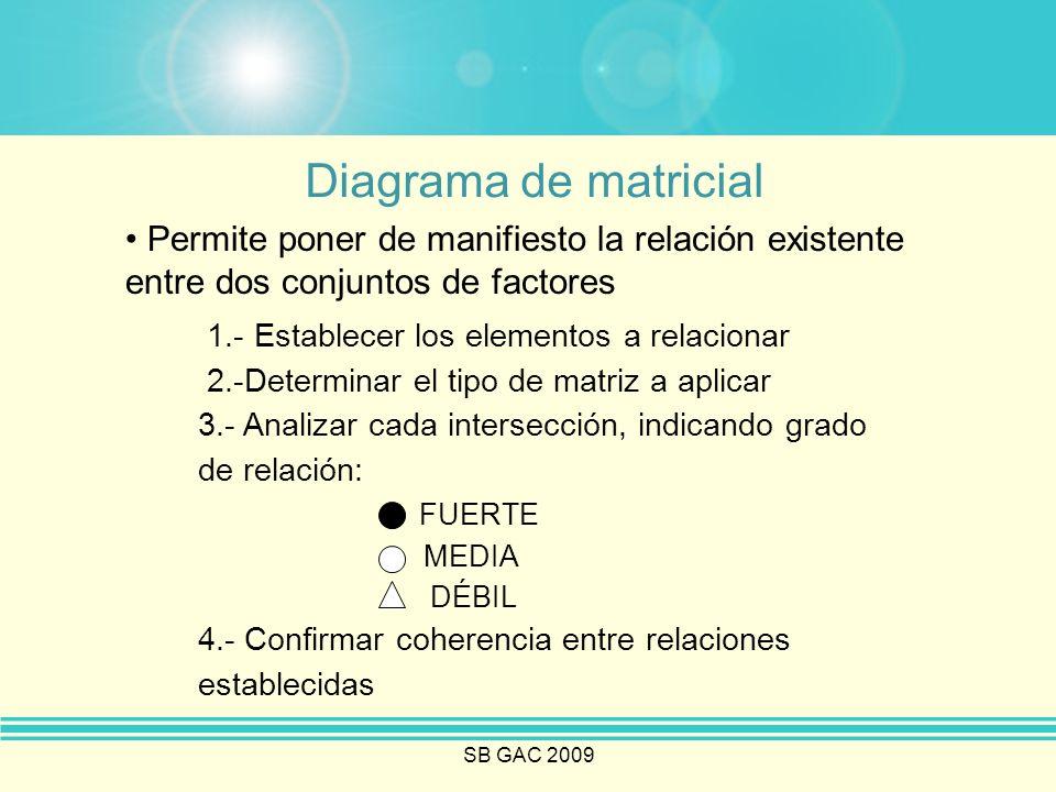 SB GAC 2009 Diagrama de matricial Permite poner de manifiesto la relación existente entre dos conjuntos de factores 1.- Establecer los elementos a rel