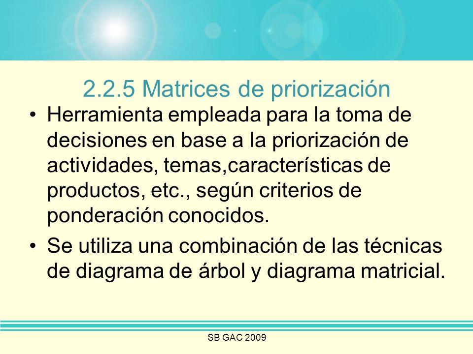 SB GAC 2009 2.2.5 Matrices de priorización Herramienta empleada para la toma de decisiones en base a la priorización de actividades, temas,característ