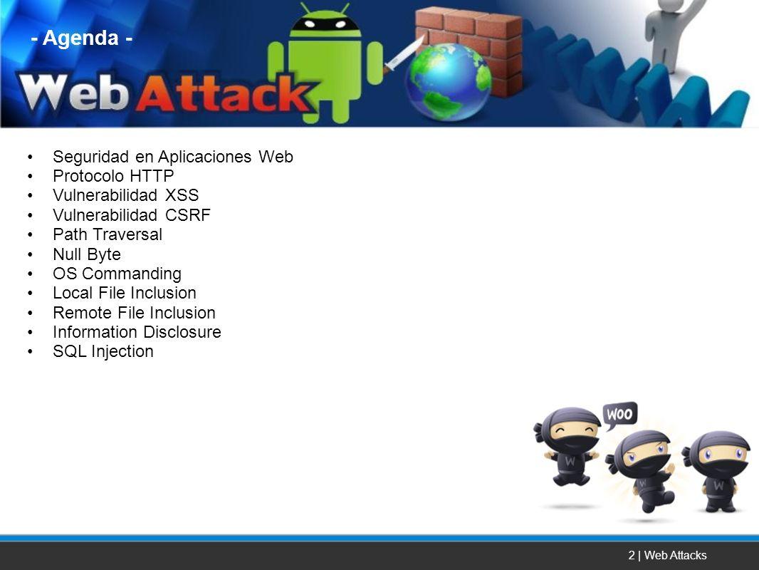 2 | Web Attacks Seguridad en Aplicaciones Web Protocolo HTTP Vulnerabilidad XSS Vulnerabilidad CSRF Path Traversal Null Byte OS Commanding Local File