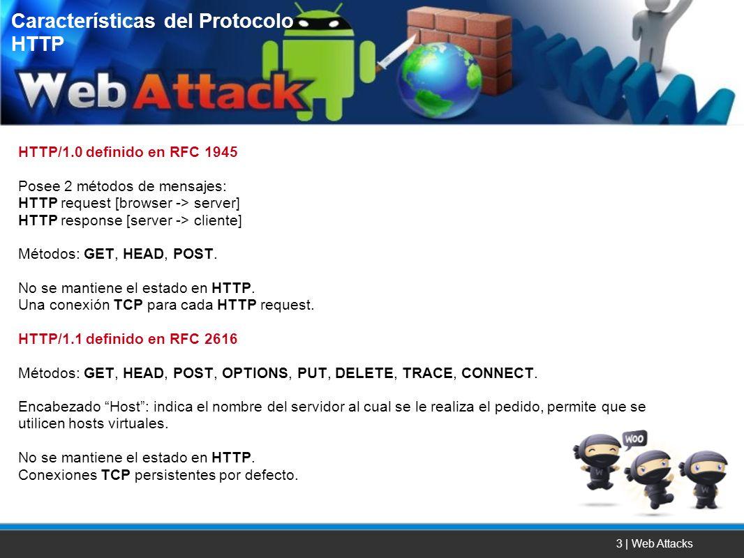 3 | Web Attacks HTTP/1.0 definido en RFC 1945 Posee 2 métodos de mensajes: HTTP request [browser -> server] HTTP response [server -> cliente] Métodos: