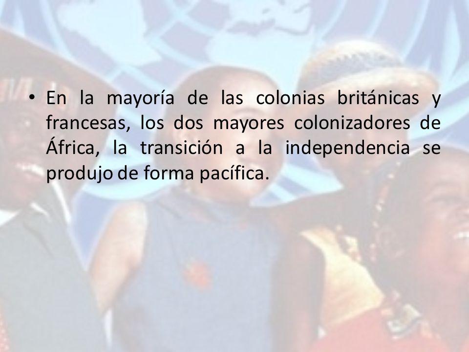 En la mayoría de las colonias británicas y francesas, los dos mayores colonizadores de África, la transición a la independencia se produjo de forma pa